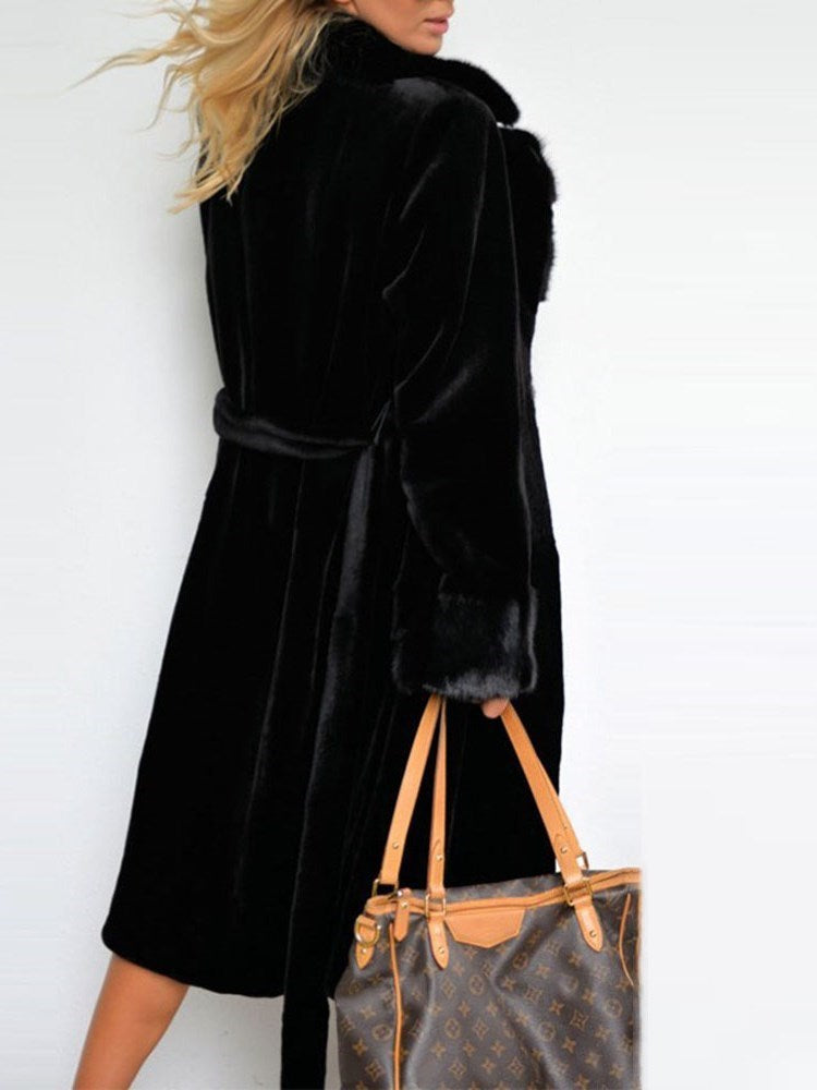 Regular Plain Long Thick Lace-Up Faux Fur Overcoat