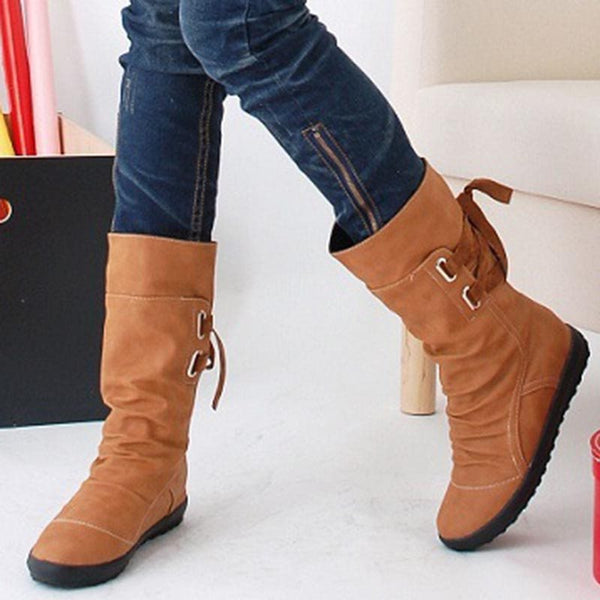 Round Toe Plain Lace-Up Back Casual Boots