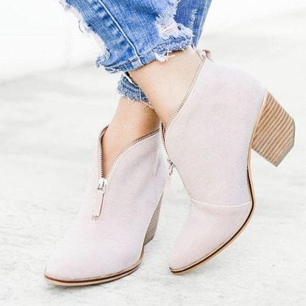 Front Zipper Round Toe Chunky Heel Casual Boots