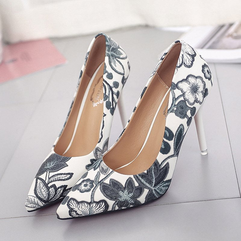 Slip-On Stiletto Heel Pointed Toe Casual Low-Cut Upper Thin Shoes