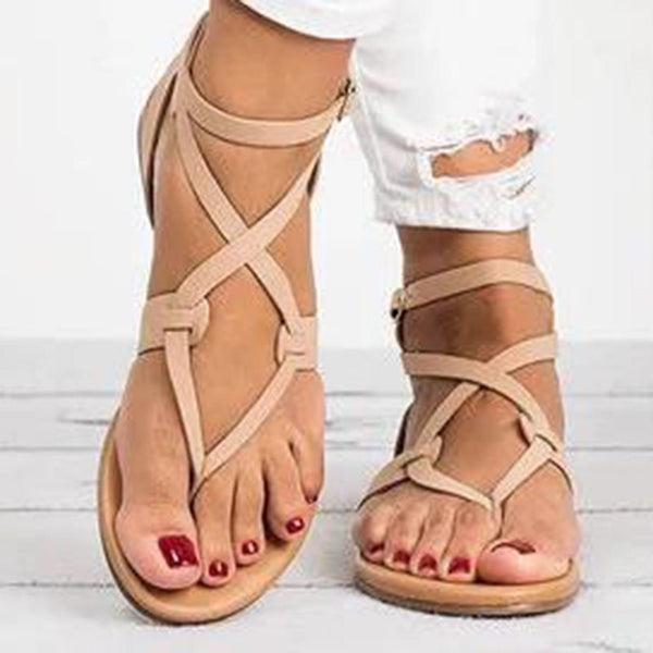 Thong Block Heel Buckle Strappy Low-Cut Upper Plain Sandals