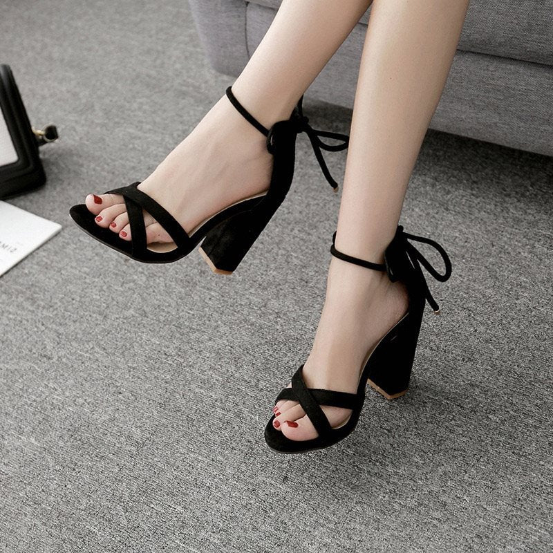 Heel Covering Lace-Up Chunky Heel Open Toe Plain Casual Sandals