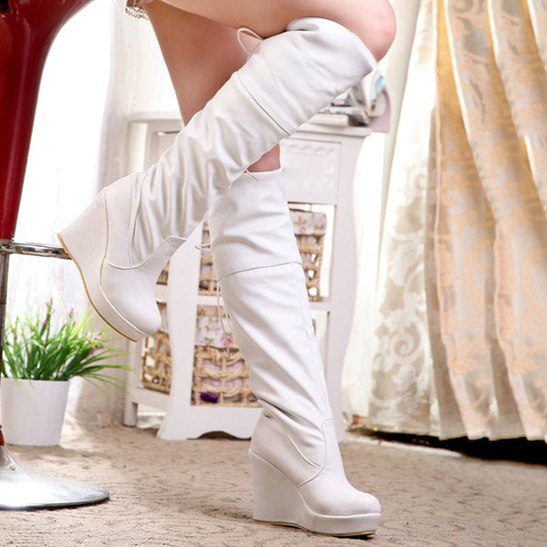 Lace-Up Back Wedge Heel Plain Round Toe Platform Short Floss Boots