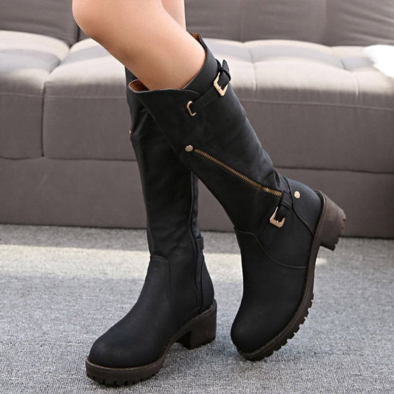 Plain Round Toe Side Zipper Chunky Heel Casual Cotton Boots