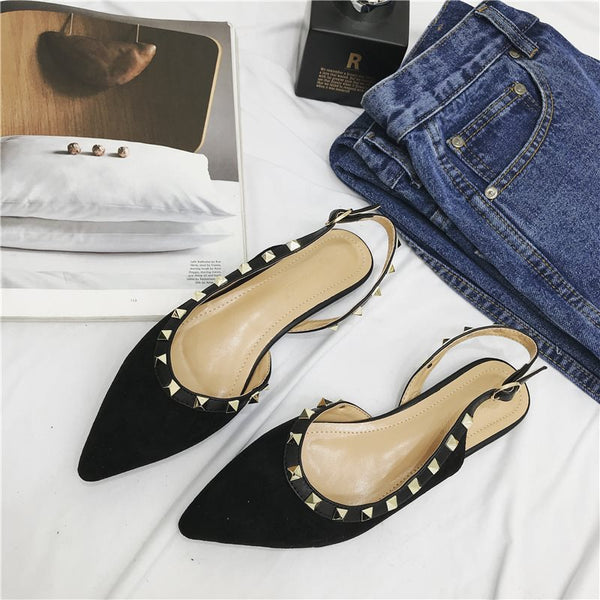Pointed Toe Buckle Flat With Rivet Plain Low Heel Thin Shoes