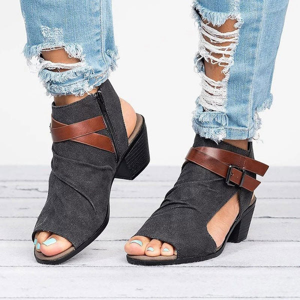 Zipper Slingback Strap Chunky Heel Peep Toe Color Block Buckle Sandals