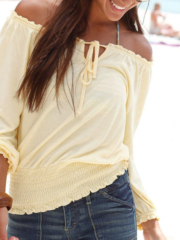 Off Shoulder Plain Lace-Up Standard Nine Points Sleeve Blouse