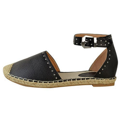 Line-Style Buckle Block Heel Rivet Round Toe 1.5cm Casual Thin Shoes