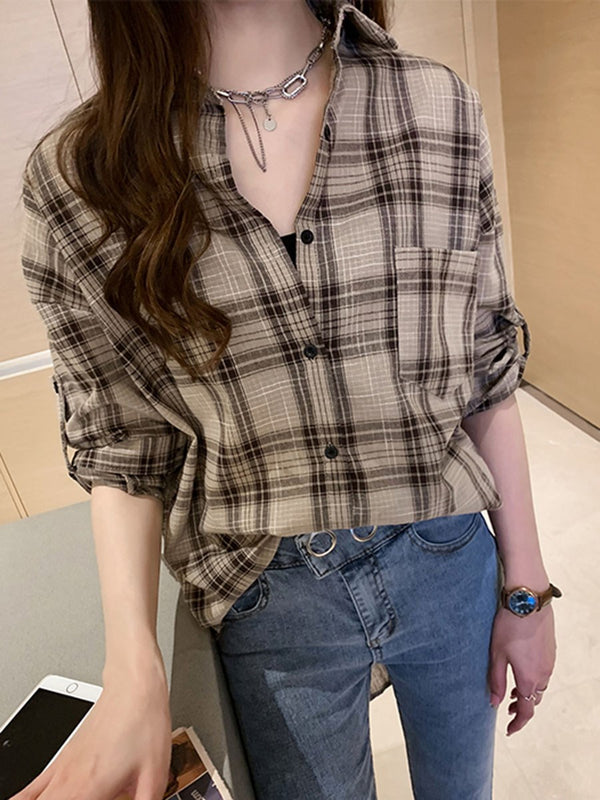 Lapel Plaid Regular Long Sleeve Mid-Length Blouse