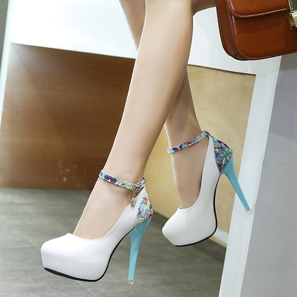 Platform Stiletto Heel Round Toe Line-Style Buckle Floral Casual Thin Shoes