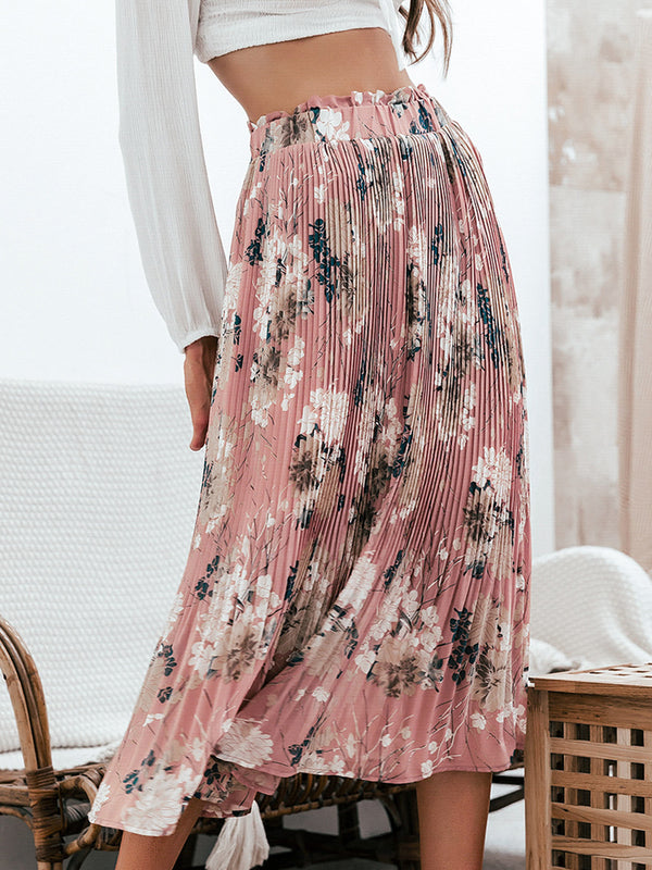 Bohemian Ruffled High Waist Chiffon Long Floral Print Skirt