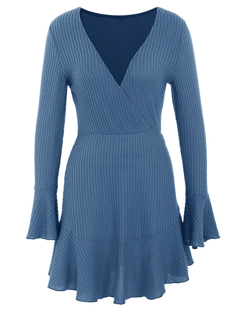 Long Sleeve V-neck Knitted Dreess Women Sexy Flare Sleeve Short Sweater Dress