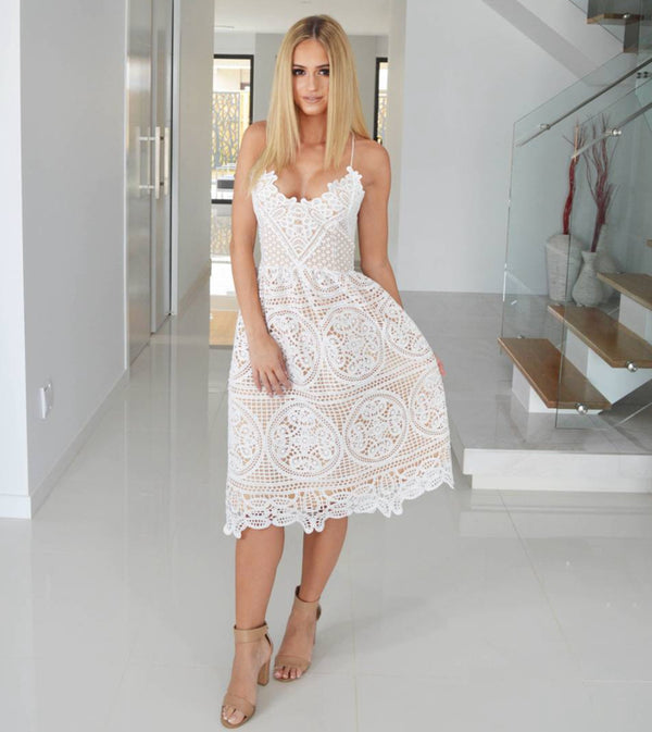 Backless Deep V Neck Fashion Sleeveless Lace Dress