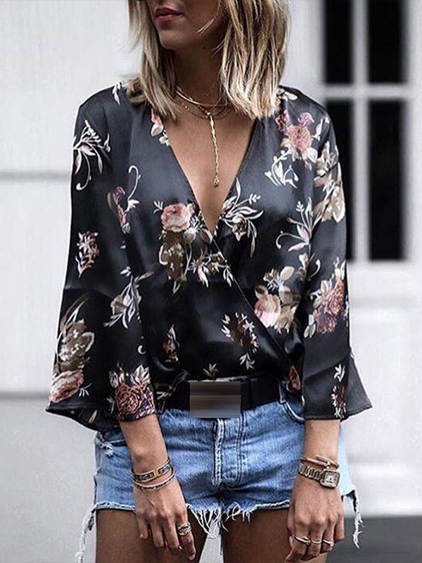 Fashion Loose Cotton Long Sleeve Deep V Neck Print Blouses