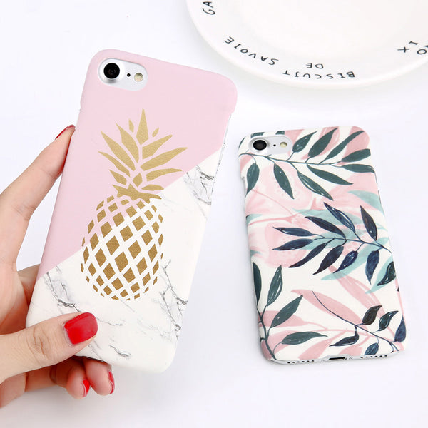 Pineapple Marble Flower Leaf Print Phone Case For iPhone Hard PC Cover Cases