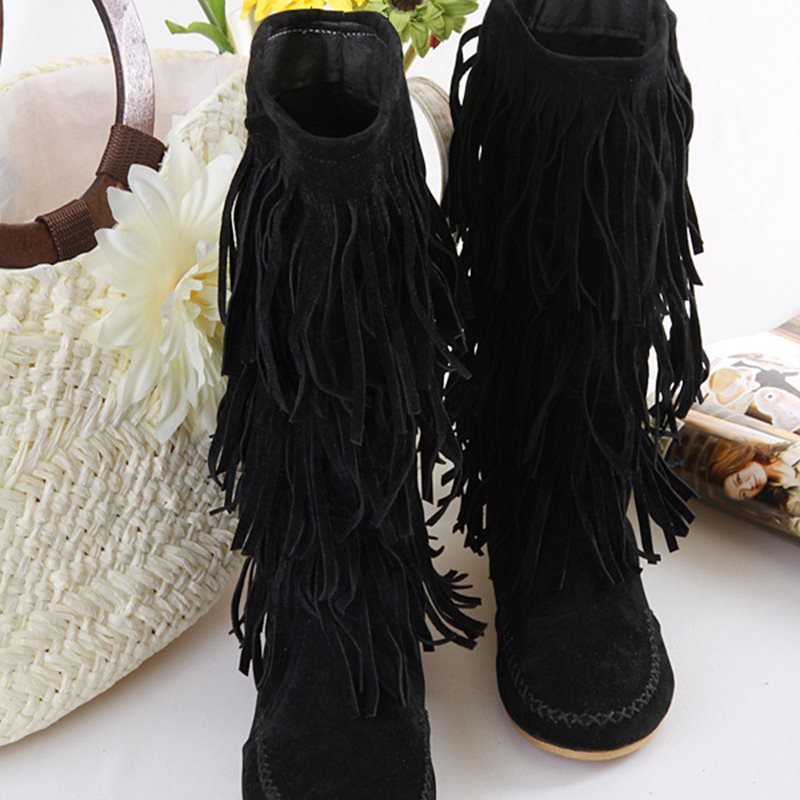 Round Toe Plain Side Zipper Flat With Fringe Casual Boots