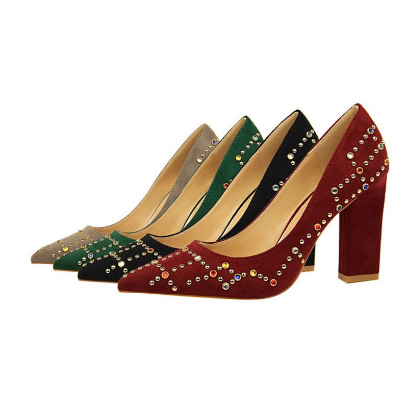 Pointed Toe Slip-On Rhinestone Chunky Heel Low-Cut Upper 9.5cm Thin Shoes