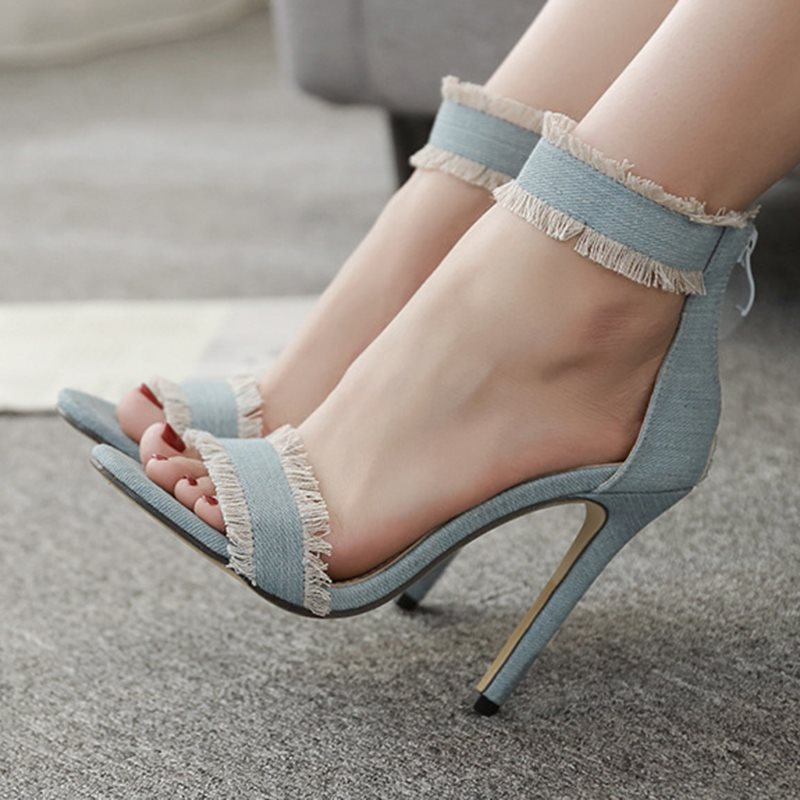 Zipper Stiletto Heel Heel Covering Open Toe Plain Casual Sandals