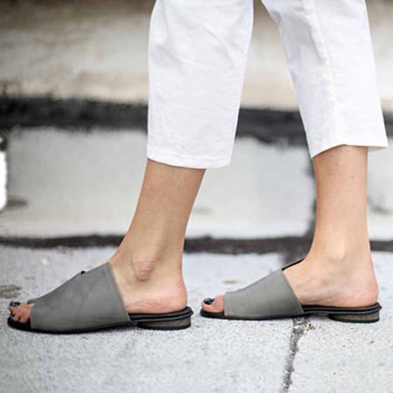 Flip Flop Slip-On Block Heel Rubber Plain Slippers