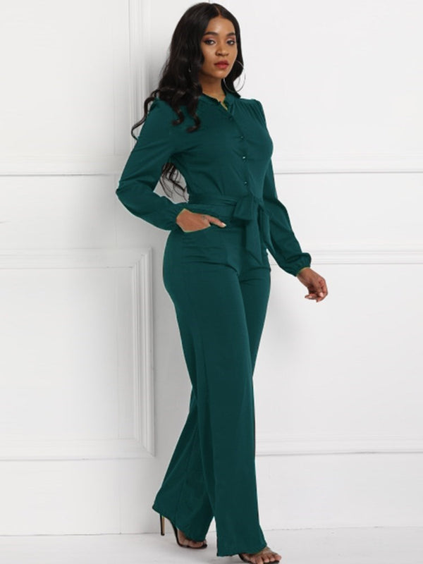 Plain Full Length Lace-Up High-Waist Straight Jumpsuits