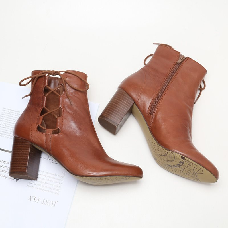 Plain Chunky Heel Pointed Toe Side Zipper Western Cotton Boots