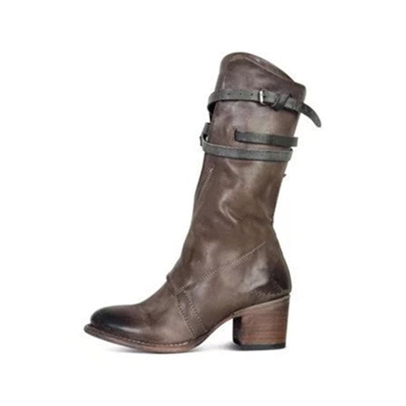 Side Zipper Chunky Heel Round Toe Buckle Cotton Boots