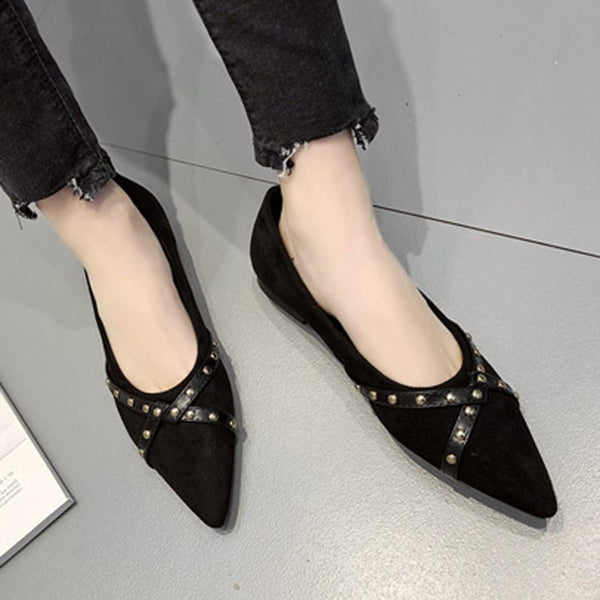 Slip-On Rivet Pointed Toe Block Heel 1cm Patchwork Thin Shoes