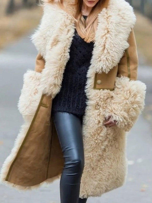 Long Regular Color Block Loose Thick Faux Fur Overcoat