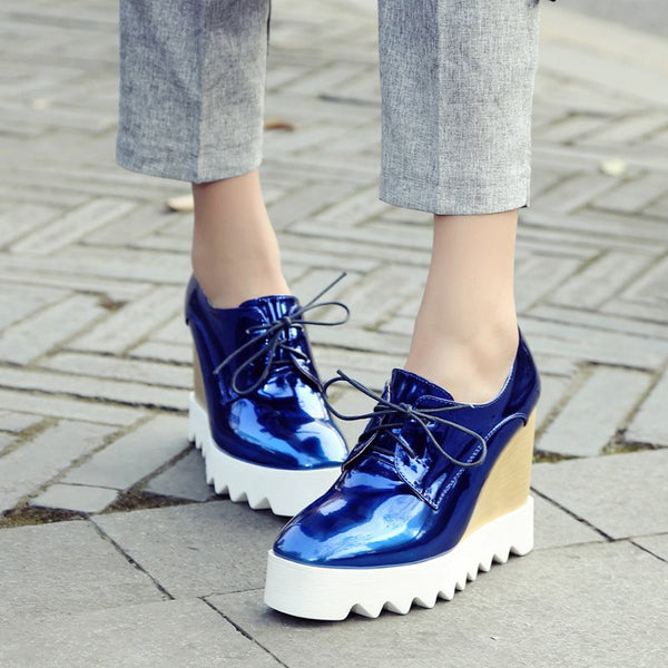 Lace-Up Wedge Heel Round Toe Platform 11cm Casual Thin Shoes