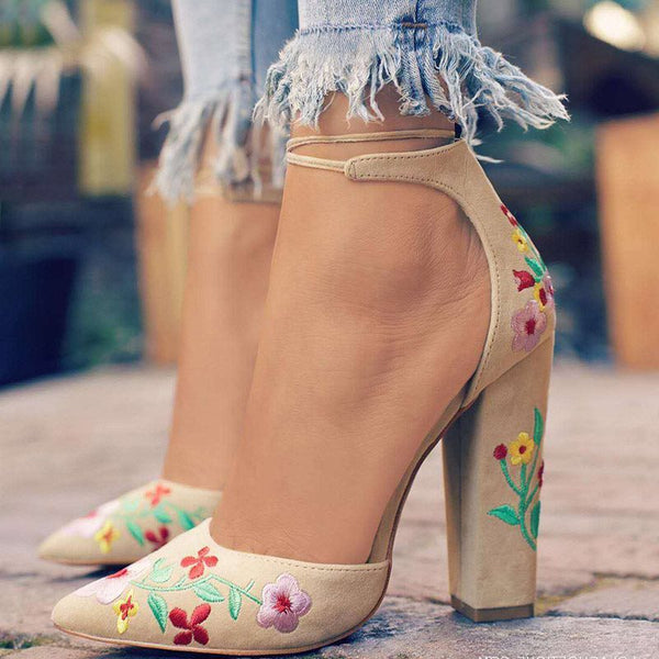 Chunky Heel Lace-Up Pointed Toe Embroidery Casual 11cm Thin Shoes
