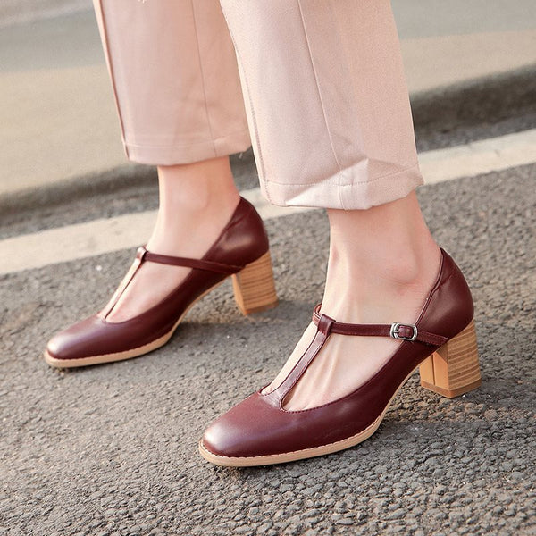 Square Toe Buckle Chunky Heel Simple Low-Cut Upper Thin Shoes