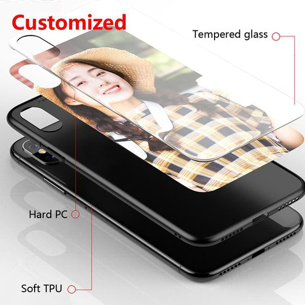 Customized Tempered Glass Phone Case For iphone, Galaxy DIY Back Cover