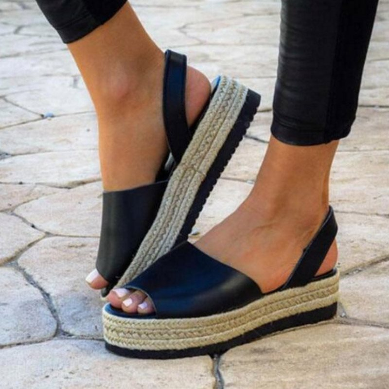 Slingback Strap Platform Slip-On Open Toe Low-Cut Upper Plain Sandals