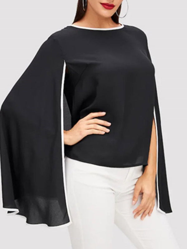 Round Neck Color Block Batwing Sleeve Standard Long Sleeve Blouse