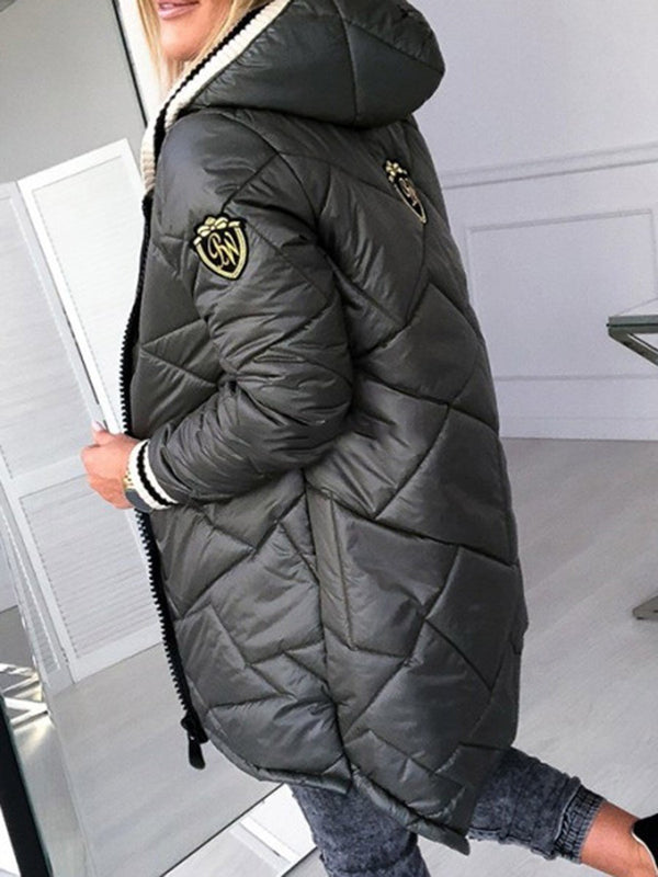 Patchwork Loose Zipper Mid-Length Cotton Padded Jacket