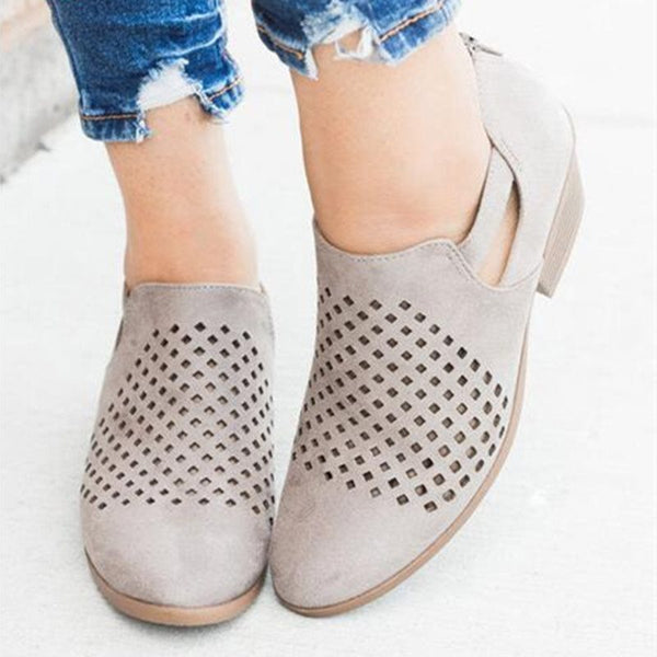 Hollow Round Toe Zipper Chunky Heel Plain Low-Cut Upper Thin Shoes