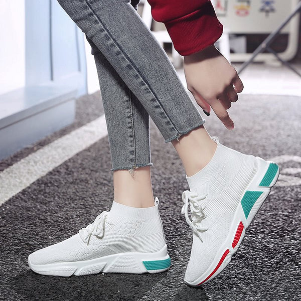 Round Toe Lace-Up Print Western Mesh Sneakers
