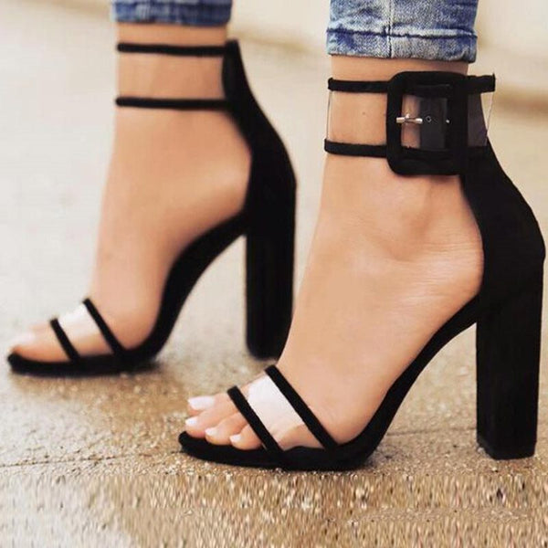 Heel Covering Line-Style Buckle Chunky Heel Open Toe Plain Casual Sandals