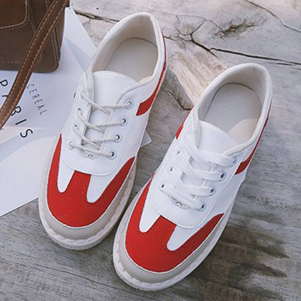 Platform Round Toe Low-Cut Upper Lace-Up PU Color Block Sneakers
