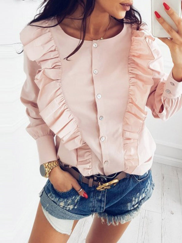 Plain Round Neck Regular Standard Long Sleeve Blouse