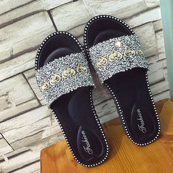 Flip Flop Flat With Sequin Slip-On Casual PVC Slippers