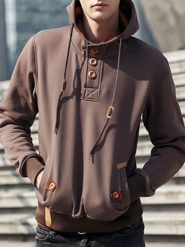 Button Pullover Winter Straight Hoodies