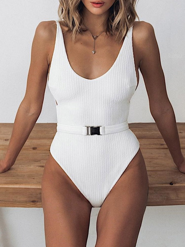 One Piece Plain Sexy Swimwear