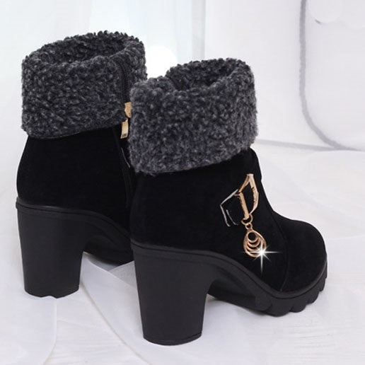 Chunky Heel Round Toe Rhinestone Slip-On Ankle Women's Boots