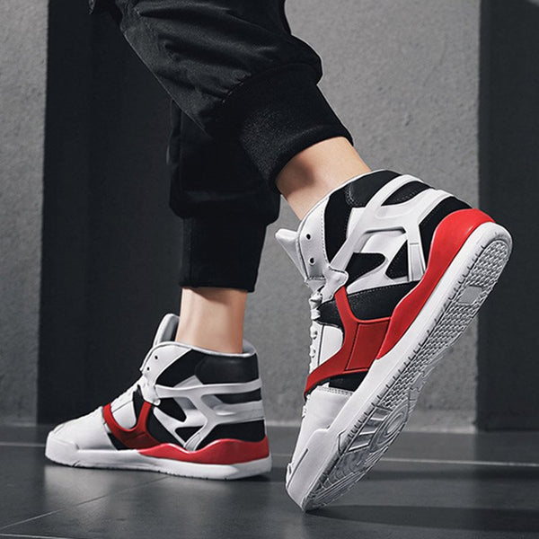 Flat With Lace-Up Mid-Cut Upper Round Toe Mesh Sneakers