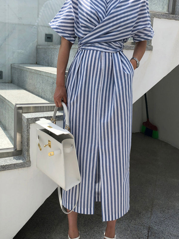 Korean Women Summer Cotton Blue Striped Bandage Split Long Dress