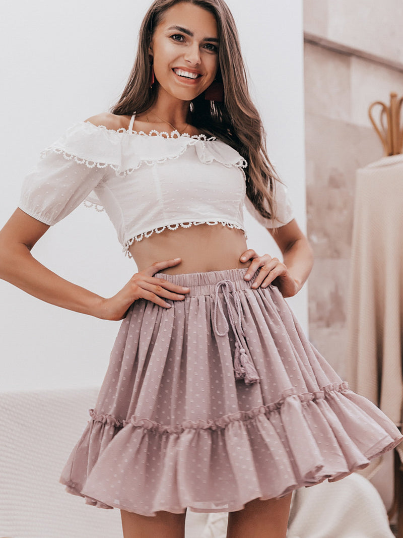 Casual Polka Dot Ruffle High Waist A-line Skirt