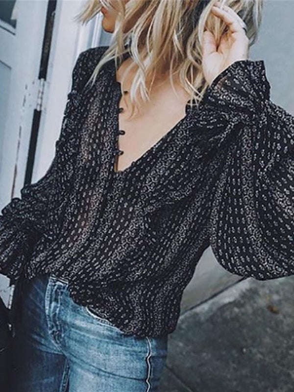 Black Retro Boho Casual Long Sleeve V-Neck Striped Blouses