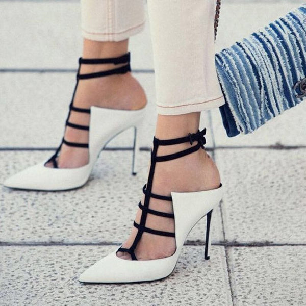 Buckle Pointed Toe Strappy Stiletto Heel Hollow Color Block Sandals