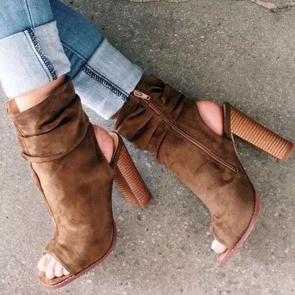 Open Toe Chunky Heel Plain Side Zipper Casual Hollow Boots